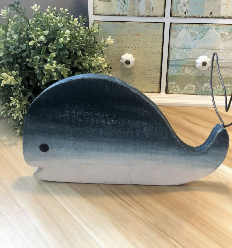 Skinny Blue Wooden Whale with Wire Tail Decoration